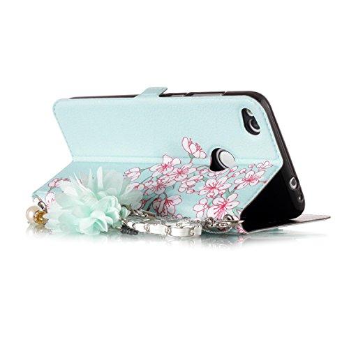 [2017 Version] Huawei P8 Lite 2017 Hülle,BtDuck Vintage Mode Damen Blumen Blume Kette Tasche Schultertaschen Handtasche Design Brieftasche Ledertasche Cover Case Schutzhülle für Huawei P8 Lite 2017 Ha P8 Lite 2017 - Blume#4