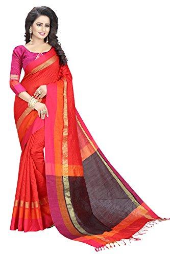 Tagline Women's Cotton silk Saree (Orange)