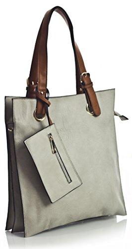 Big Handbag Shop, Borsa tote donna Grigio (Grigio)