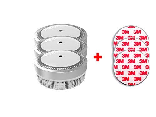 Jeising Mini Rauchmelder RWM100-Silber 3er Set mit Klebepad 3M Premium selbstklebend - 10 Jahres...