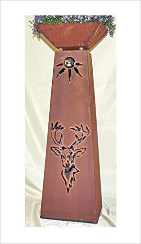 Jabo Design konische XL Rostsäule + Schale RS104+S11 Hirsch Garten Blumensäulen Säulen Rost Deko