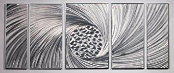 PictureSensations.com Metall Wand Kunst, Malerei Decor Skulptur Silber abstrakt modern Swirl -