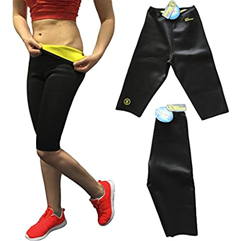 Fitness Pantalones Cortos Pantalones de deporte abnehmen Sauna schwitzhose extraíble Pantalones con efecto térmico, negro