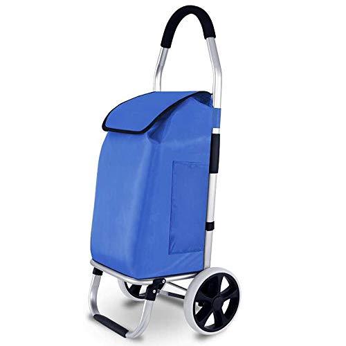 ZA Einkaufswagen, Trolley, Aluminium-Legierung, tragbarer Anhänger, Klapptrolley, wasserdichtes Gewebe, Design mit großer Kapazität, langlebig (Farbe : Blau) (Abdeckung Ersatz-hochstuhl)