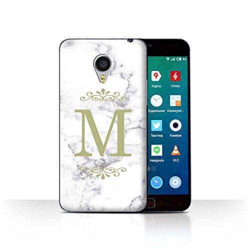 Stuff4® Personalisiert Weiß Marmor Mode Hülle für Meizu MX4 Pro/Gerahmt Gold Single Design/Initiale/Name/Text Schutzhülle/Case/Etui