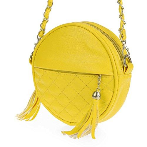 Honeymall piccoli rotondi pacchetto/ mobile tondo pacchetto/Mini tracolla borsa a tracolla piccola spalla Borsa nappa Rosso Giallo