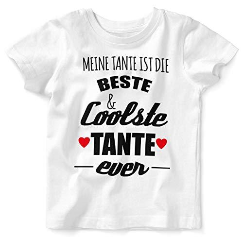 Mikalino Baby/Kinder T-Shirt mit Spruch für Jungen Mädchen Unisex Kurzarm Meine Tante ist die Beste und coolste Tante | handbedruckt in Deutschland | Handmade with Love, Farbe:Weiss, Grösse:92/98