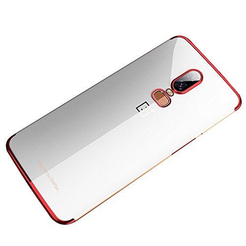 für OnePlus 6 Handyhülle, [Fusion Neu] Crystal Clear Gel Hülle Für OnePlus 6 [Erweiterte Shock-Absorber/Drop Protection Technologie] Ein Plus 6 Clear Gel Case OnePlus 6 Cover Phone Case (Black) (Red) -