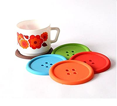 Minkle SET OF 4 COLOURFUL BUTTON SILICONE COASTERS COFFEE TABLE PLACE MATS DRINK HOLDER