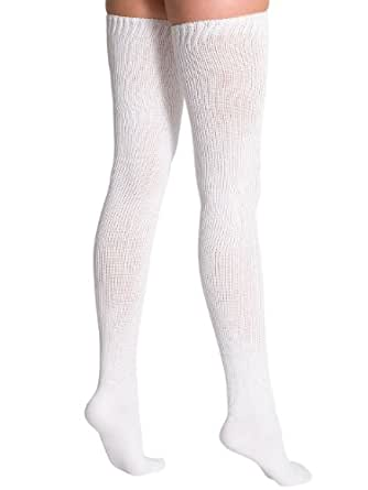 American Apparel Cotton Solid Thigh-High Sock - White / One Size