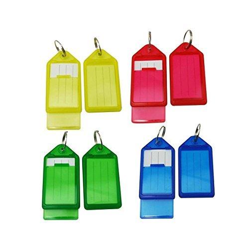 Winomo 60 pezzi in plastica a forma di bagagli id tags etichette con portachiavi (di colore casuale)