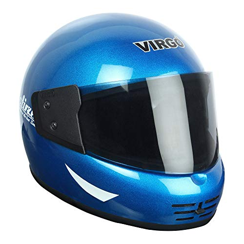 Virgo Airzed Colour Blue Glossy Finish Visor Tinted Helmet (Medium)