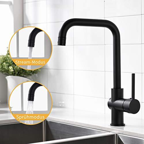 AIMADI Wasserhahn Küche Mischbatterie küchenarmatur Küchenspüle 360° drehbar Armatur spülbecken Spültischarmatur Schwarz