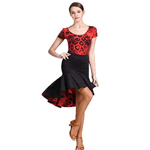 QMKJ Practice Dance Sets Original-Designs Falbala Leopard Korn druckt lateinische Bauchtanz-Kostüm Halloween-Tanz Lacy Lange Ärmel voluminöse Rock große Größe XL 2XL,XXL