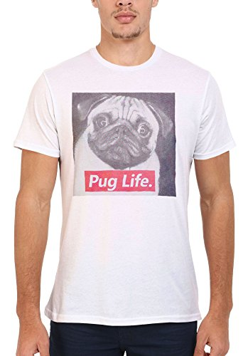 Pug Life Dog Doggie Animal Cool Funny Men Women Damen Herren Unisex Top T Shirt .Weiß