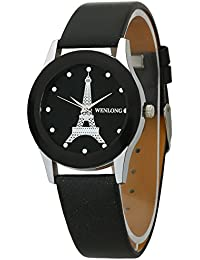 Dk WENLONG Eiffel Tower Black Dial Analogue Leather Strap Wrist Watch For Girls - Women (WEN1357)