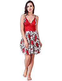 Freely Red color Floral Printed Babydoll Nighty