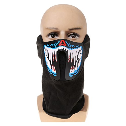 leuchtete Schädel-Maske - Super coole Halloween-Dekoration / Bastelbedarf, Polyester, B, 53.6 x 20cm ()