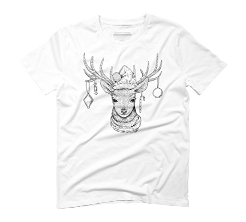 Christmas Deer Men's Graphic T-Shirt - Design By Humans White