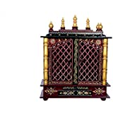Wooden Home Temple/Pooja Mandir with Led Bulb with Free Pooja Thali and God Photo Frame