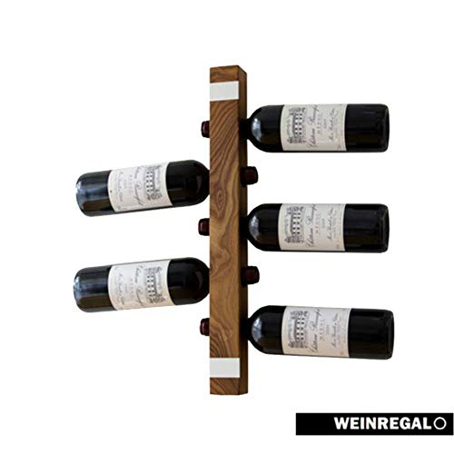 WEINREGALO Mini Ulme |Das Moderne Design Weinregal/Flaschenregal aus Holz für Ihre Wand (Flaschenregal für 5 Weinflaschen, 52 x 5 x 5 cm, dekorativ für Wohnzimmer oder Küche)