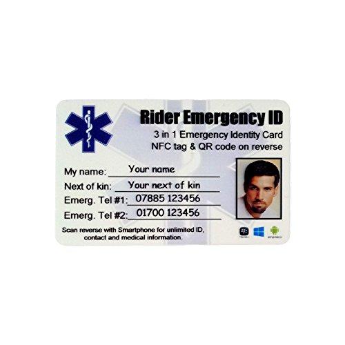 Motorrad Rider Unfall Notfall Smart ID Kartenfächern. Smartphone kompatibel Kontaktlose Identität Karte mit NFC-Chip und hält, QR Code. Unlimited Notfall ID, Kontakt und Medizinischen Informationen. Rettungsassistenten Scan oder Touch Karte mit einem Regular Smartphone, um so viele Informationen wie Sie wünschen, zu. Angehöriger, E-Mail, Adressen. Foto ID optional.