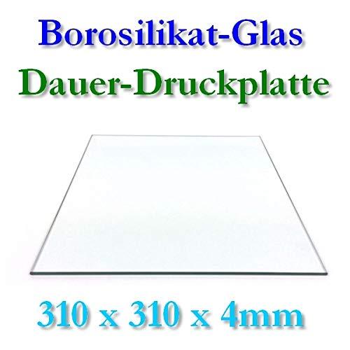 Borosilikat Glas Druckplatte 310x310x4mm