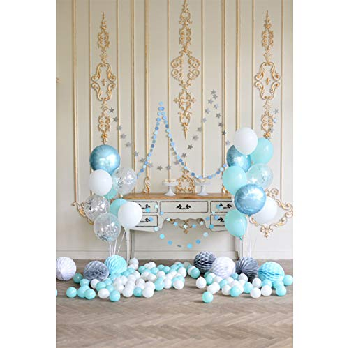 Cassisy 1,5x2,2m Vinyl Geburtstag Fotohintergrund Junge 1 Geburtstag Dekor Pastell Ballons Paper Balls Fotoleinwand Hintergrund für Fotostudio Requisiten Party Baby Kinder Photo Booth -