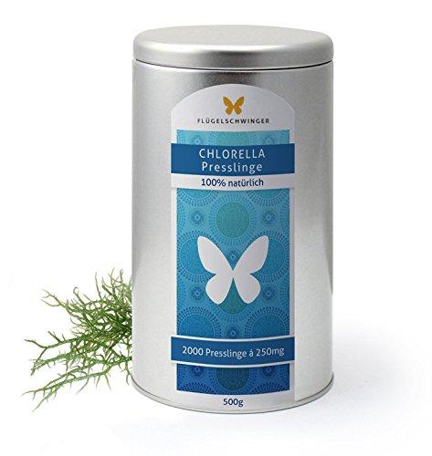 Preisvergleich Produktbild 500g Chlorella Presslinge von FLÜGELSCHWINGER, Vorratsdose, 2000 Tabletten á 250mg, ohne Zusätze, schonende Verarbeitung bei niedrigen Temperaturen, Rohkostqualität