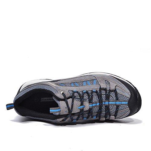Schiff in Desert Sommer Premium Leder Obermaterial Wasserdicht Walking/Wandern/Trekking Schuh - Grey Blue