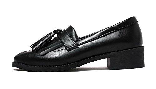 VogueZone009 Femme Matière Mélangee Carré à Talon Bas Tire Couleur Unie Chaussures Légeres Noir