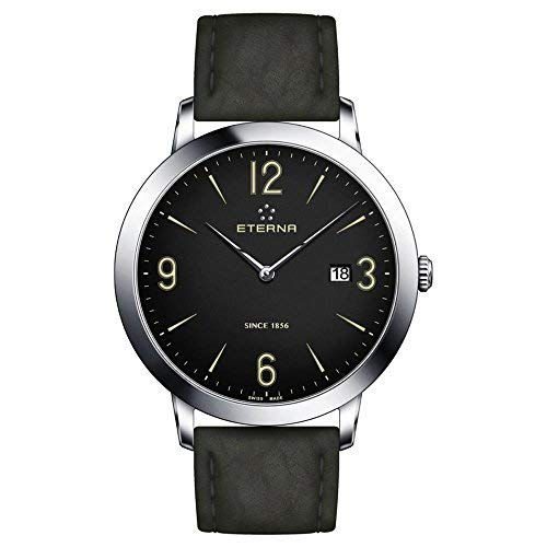 Eterna Men's Eternity 42mm Black Leather Band Steel Case Sapphire Crystal Quartz Watch 2730-41-48-1397