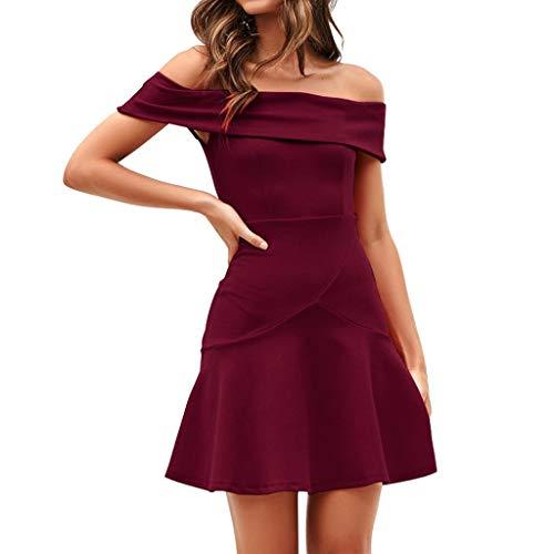 SHE.White Damen Kleid Abendkleid Schulterfreies Cocktailkleid Jerseykleid Skaterkleid Knielang Elegant Einfarbig Festlich Partykleid