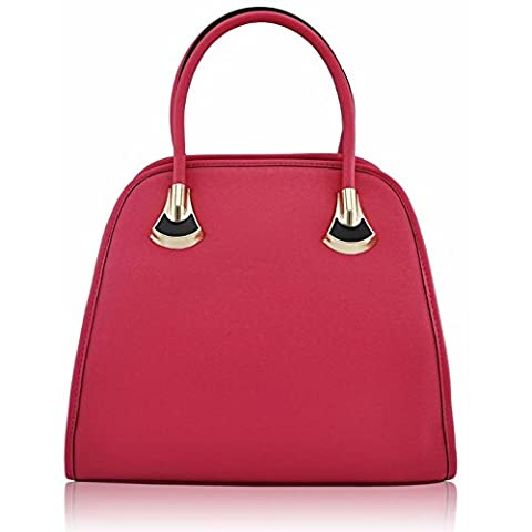 Womens Designer Shoulder Handbags Ladies Celebrity Style Faux Leather Tote Bags (A - Pink)