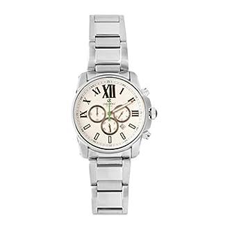 De los deportes de Oskar Emil para hombre reloj infantil de cuarzo con cronógrafo y plateado correa de acero inoxidable de Zephyr blanco/verde