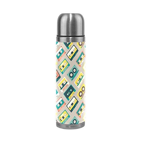 COOSUN Cintas de Audio Retro patrón de Acero Inoxidable Frascos de Agua Botella de vacío de la Taza aislada a Prueba de Fugas de la Botella Doble vacío, Viajes PU Taza térmica, 17 oz 17 oz Multicolo