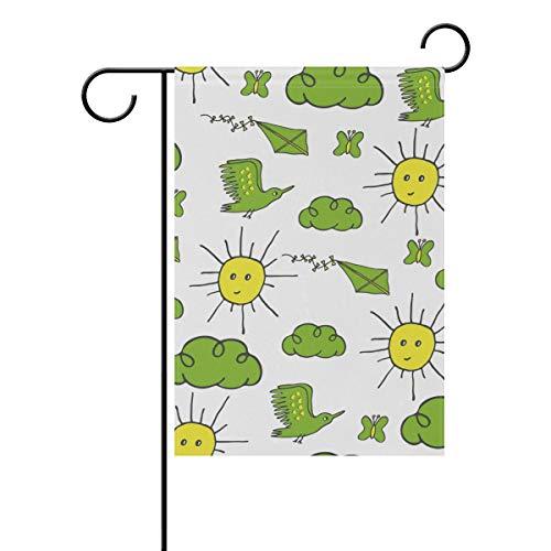 Gartenflagge Doodle Lustiges Sonnenwolkenmuster, 30,5 x 45,7 cm, Banner doppelseitig, für Rasen Hof, Außendekoration, Polyester, Image 793, 28x40(in)
