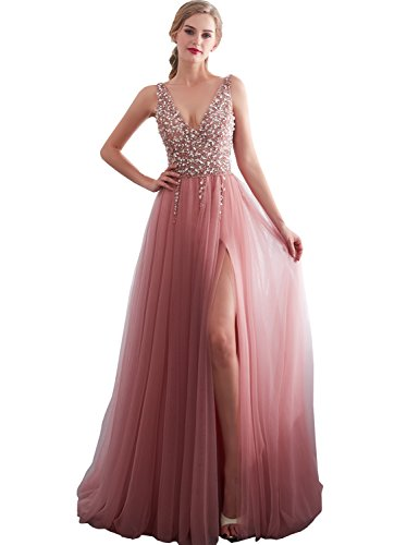 Clearbridal Damen V-Ausschnitt Abendkleid Ballkleid Partykleid lang Maxikleid Glitzer elegant mit Beineschlitz SQS30651 Gr.44