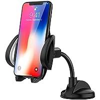 """MoKo Smartphones Support de Voiture, 360 Degrés Pivotant Tableau de Bord de Pare-Brise PU Support pour 4 """"- 7"""" Smartphone Apple iPhone X / 8 plus / 7 / 6s / 5, Samsung Galaxy Note 8 / S8 - Noir"""