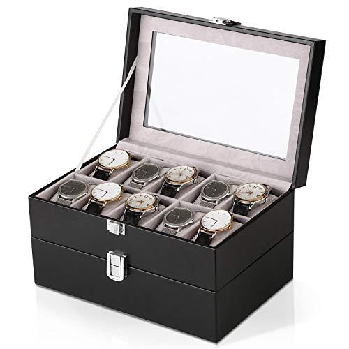 Amzdeal scatola porta orologio contenitore di gioielli doppio strato posto con vetro supriore e 20 cuscini rimovibili, nero