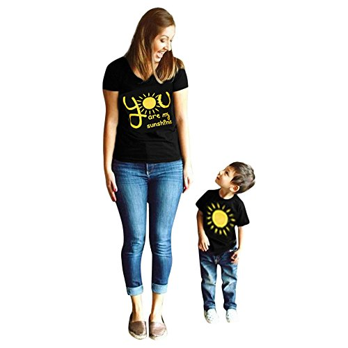 LUCKDE Mama Kind T Shirt, Sommer Matching Outfits-You Are My Sunshine- Sportshirt Kurzarmshirt Crop Top Camisole Bluse Damen Tanktops Tunikashirts Sommerbluse Mädchen Jungen (S, Mutter)