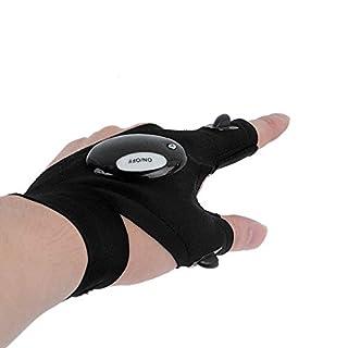 Handschuh für Nachtangler, fingerlose Handschuhe mit integrierter LED-Taschenlampe, multifunktional einsetzbar für nächtliche Reparaturarbeiten, auf der Jagd, beim Fischen, Campen, Wandern, Fahrradfahren oder bei Rettungseinsätzen, integrierte Beleuchtung für freie Hände, Left