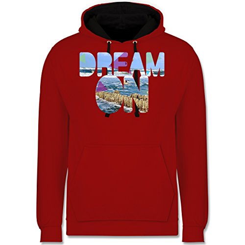 Statement Shirts - Dream On Strand Meer - Kontrast Hoodie Rot/Schwarz