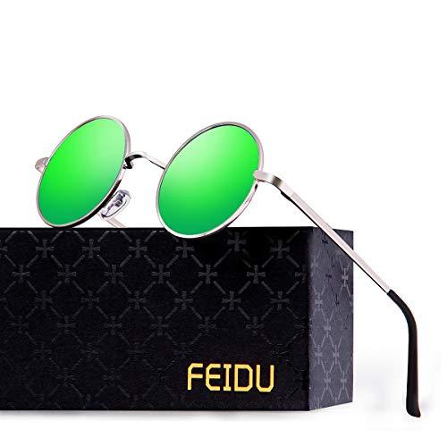 FEIDU Retro Vintage Runde sonnenbrille herren - Polarisiert mit rundem Metallrahmen,sonnenbrille damen FD 3013 (Grün, 1.81)