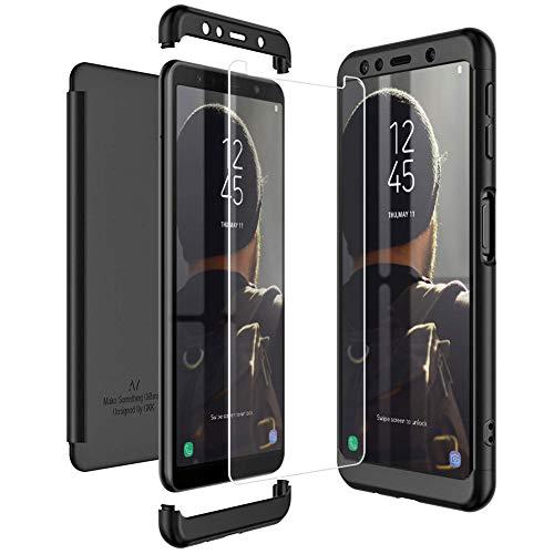 Mkej Kompatibel mit Samsung Galaxy A7 2018 Hülle, [Panzerglas Displayschutzfolie] 3 in 1 Ultra Dünn Handyhülle 360° Full Body Anti-Kratzer Hart PC Skin Glatte Bumper für Galaxy A7 2018 - Schwarz