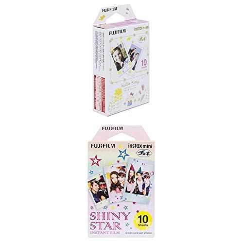 Fujifilm Colorfilm Instax Mini Hello Kitty3 WW1 Film weiß &  Instax Mini Instant Film, Shiny Star, Einzelpackung