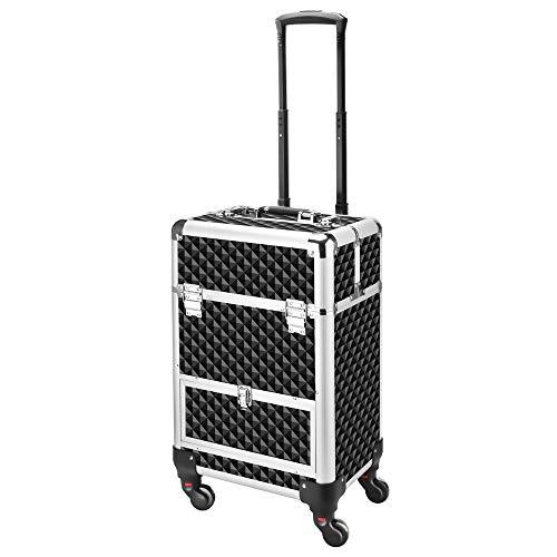 Amasava beauty case 4 in 1 valigia trucco donna custodia per cosmetici con cassetto, serrature e chiavi 4 rotelle girevoli custodia multifunzionale regolabile per il trucco ect - nero