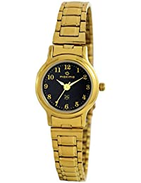 Maxima Round Black Dial Golden Chain Watch For Women With 123 Digits