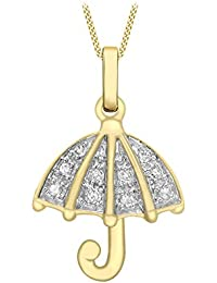 Carissima Gold 9 ct Yellow Gold 0.10 ct Diamond Umbrella Pendant on Prince of Wales Chain Necklace of 46 cm/18 inch