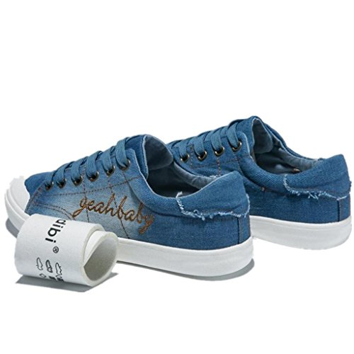SHFANG Lady Shoes Retro Lavato Cowboy Flat Bottom Tempo libero Studenti confortevoli Scuola Shopping Due colori quotidiani Light Blue